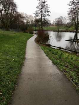 Tarmac path by lake