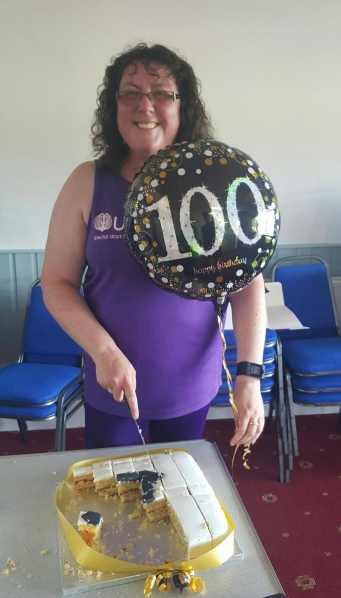 Kathy Sadler 100th parkrun