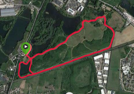 Bedfont Lakes course map