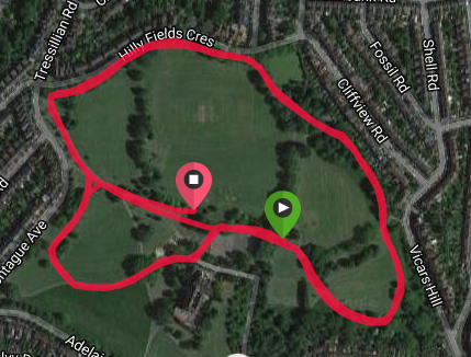 Hilly Fields course map