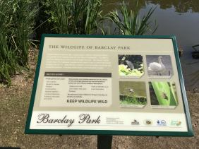 Wildlife of Barclay park sign