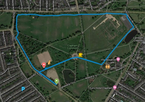 Clapham Common course map