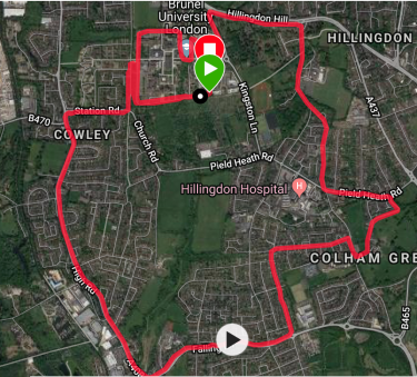 Hillingdon 10KM course map
