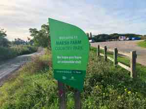 Marsh Farm country park car park sign