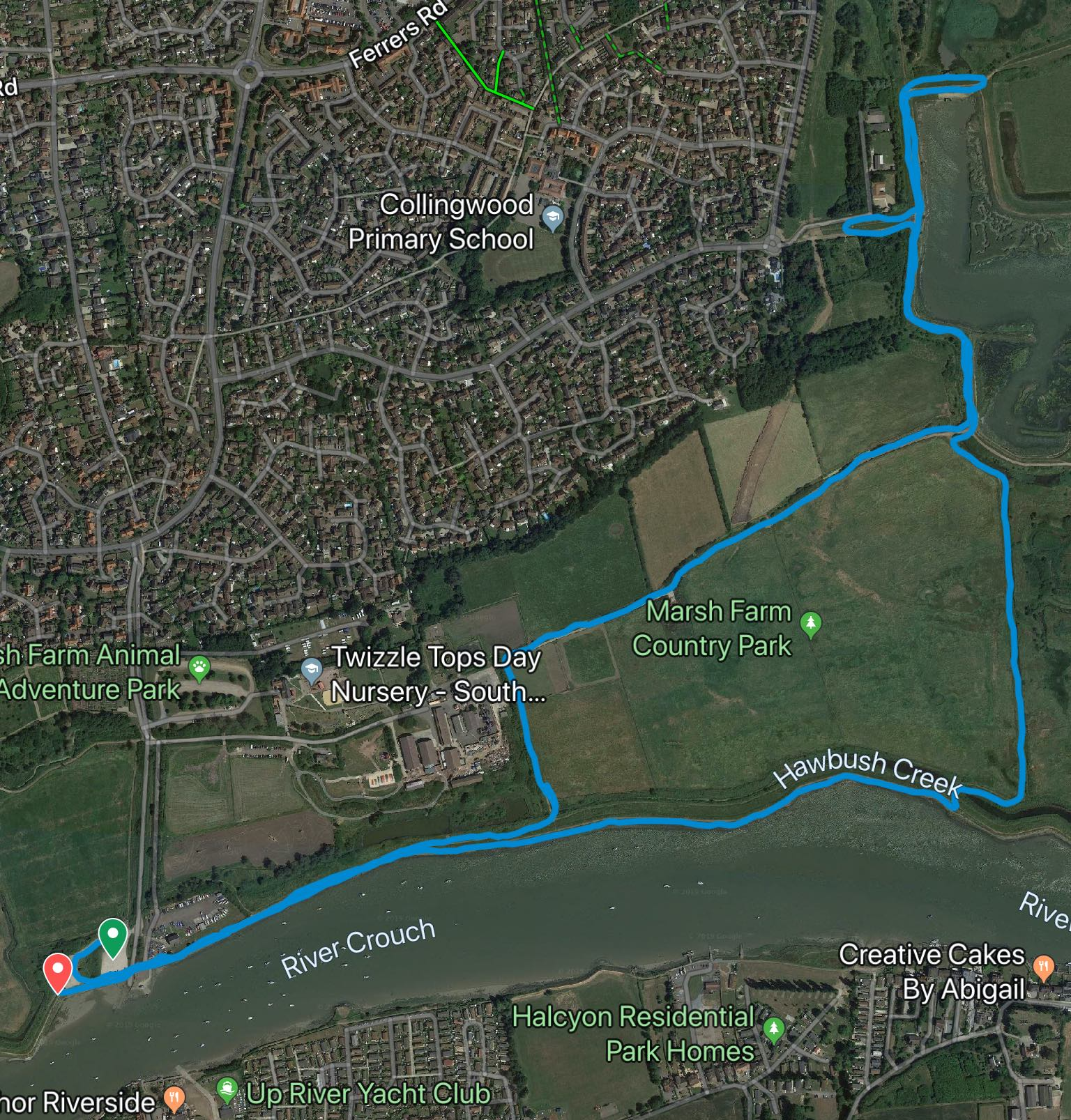 South Woodham Ferrers course map